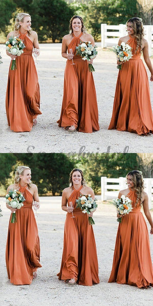 A-Line Halter Floor-Length Soft Cheap New Modest Fall  Affordable Bridesmaid Dresses ,WG350 - SposaBridal