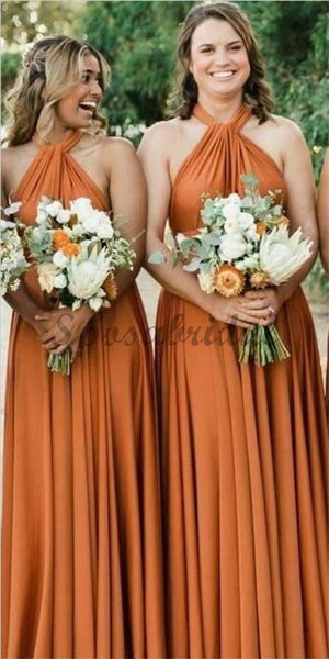 A-Line Halter Floor-Length Soft Cheap New Modest Fall  Affordable Bridesmaid Dresses ,WG350