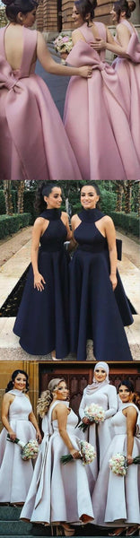 A-Line High Neck Unique Design Modest Bridesmaid Dresses with Bowknots, WG340 - SposaBridal