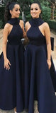 A-Line High Neck Unique Design Modest Bridesmaid Dresses with Bowknots, WG340