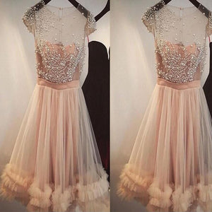 A-Line Short Cheap Cap Sleeves Tulle  Beautiful Homecoming Dresses with Beading Homecoming Dresses, BD0234