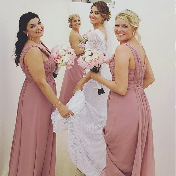 A-Line  Long Dusty Pink Chiffon Cheap Modest Sexy Unique Soft Elegant Hot Sale Mismatched Bridesmaid Dresses Online, WG259 - SposaBridal