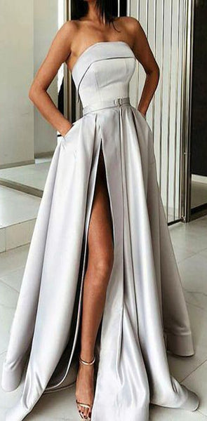 A-Line Most Popular Off Shoulder Sweep Train Split Front Grey Prom Dresses with Belt online , PD0944 - SposaBridal