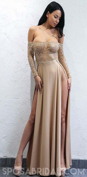 f2193fb1e1ed A-Line Off-the-Shoulder Long Sleeves Champagne Prom Dresses,Fshion Elegant
