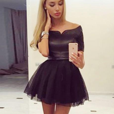 Simple Cheap Junior A-Line Off-the-Shoulder Short Black Tulle Homecoming Dresses,BD0253
