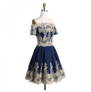 A-Line Off-the-Shoulder Short Sleeves Appliques Navy Blue Homecoming Dresses ,BD0255 - SposaBridal