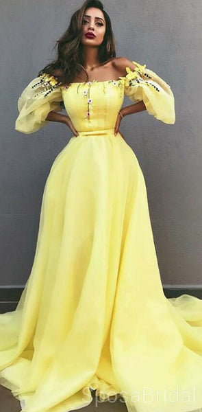A-Line Off-the-Shoulder Yellow Tulle Modest Unique Elegant Prom Dressse with Appliques, PD1248