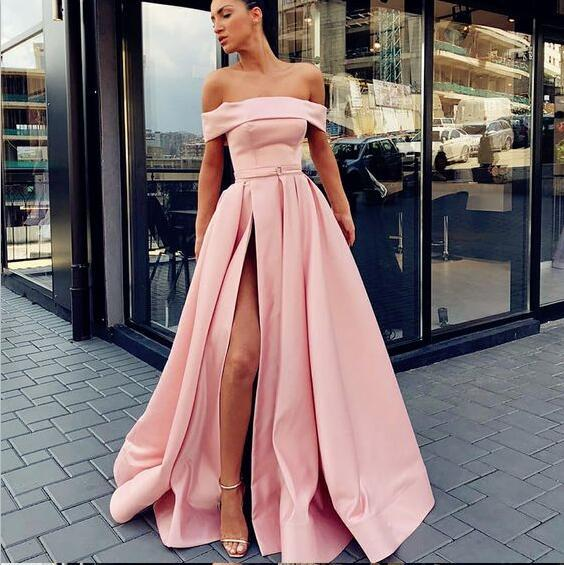 5498429f A-Line Off Shoulder Long Cheap Sweep Train Split Front Pink Prom Dresses  with Belt