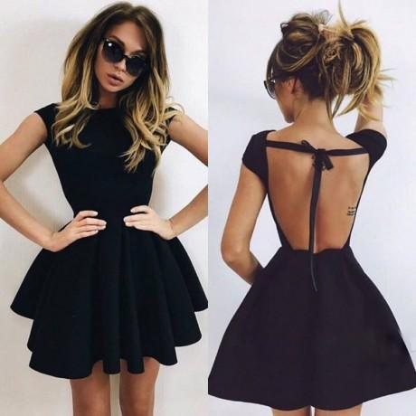 Backless A-Line Scoop Short Black Simple Cheap Homecoming Dresses, Sexy Short Prom dress, BD0256