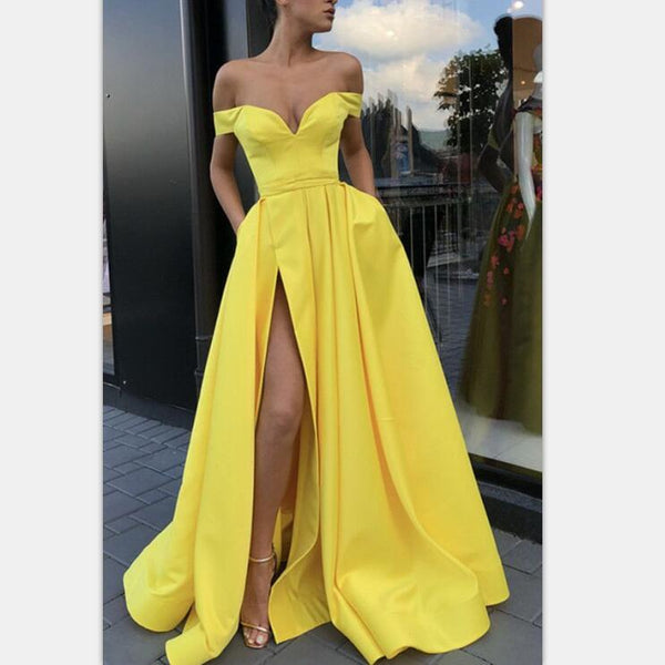 A-Line Sexy Split Yellow Elegant Long Satin Off Shoulder Prom Dresses,Evening Gowns, PD0946 - SposaBridal