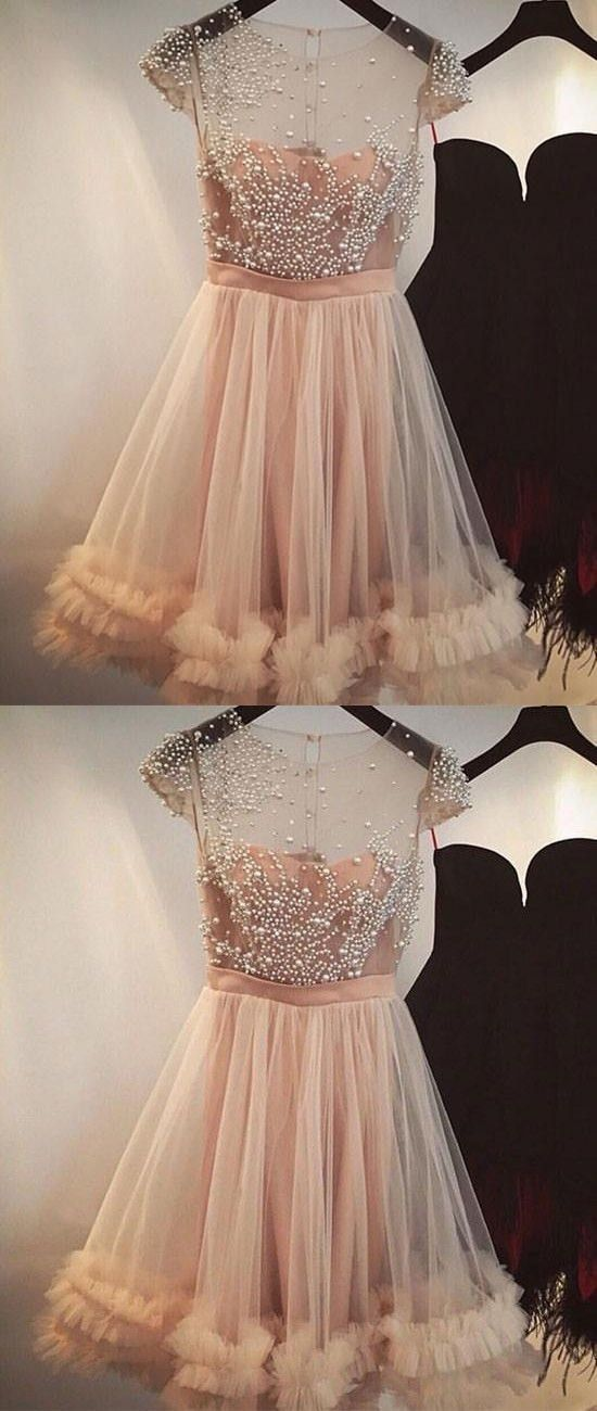 A-Line Short Cheap Cap Sleeves Tulle  Beautiful Homecoming Dresses with Beading Homecoming Dresses, BD0234 - SposaBridal