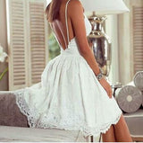 Charming Popular Cheap Spaghetti Straps Backless Homecoming Dresses with Lace Appliques ,BD0257 - SposaBridal