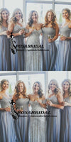 A-Line Spaghetti Straps Blue Sparkly Unique Elegant Hot Bridesmaid Dresses with Sequins,WG329