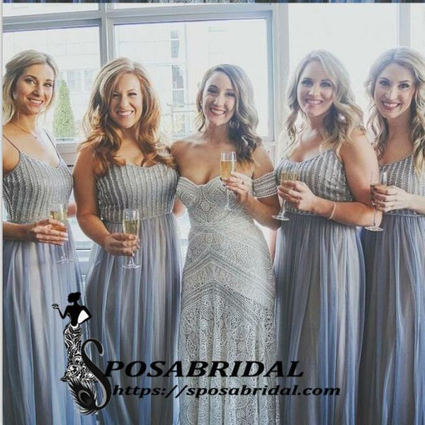 A-Line Spaghetti Straps Blue Sparkly Unique Elegant Hot Bridesmaid Dresses with Sequins,WG329 - SposaBridal
