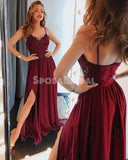 2019 A-Line Spaghetti Straps Side Split Cheap Modest Long Burgundy Party Prom Dresses,evening dress, PD0857