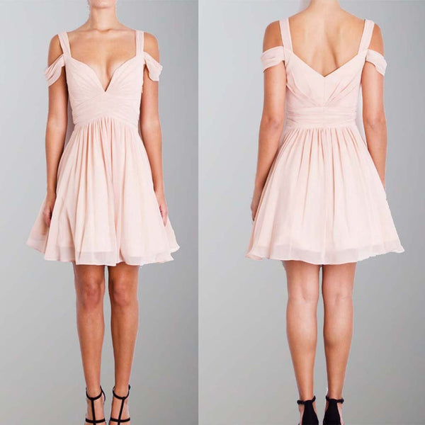 A-Line Straps Pink Short Chiffon Homecoming Dress, Off the Shoulder Bridesmaid Dresses, WG258 - SposaBridal
