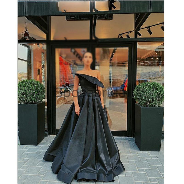 A-line Black Satin Cheap Strapless Simple Formal Prom Dresses PD2151