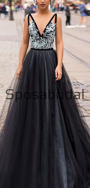 A-line Black V-Neck Tulle Gorgeous Evening Long Prom Dresses PD2286