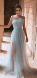 A-line Blue One Shoulder Side Slit Sequin Prom Dresses PD2402
