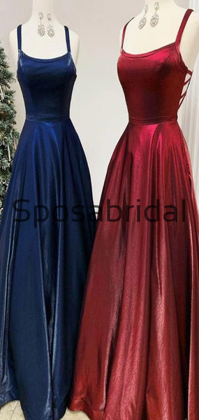 A-line Burgndy Navy Velvet Real Made Elegant Long Prom Dresses PD2287
