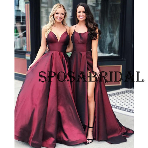 A-line Burgundy Satin Cheap Simple  Evening Prom Dresses PD2340