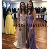 A-line Spaghetti Straps Purple Sequin Shinning Prom Dresses PD2341
