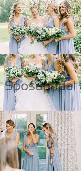 A-line Cheap Blue Simple Fashion Bridesmaid Dresses WG745