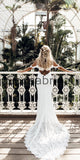 A-line Full Lace Off the Shoulder Beach Vintage Wedding Dresses WD0473