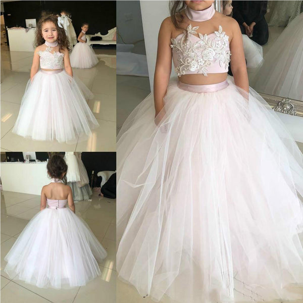 A-line Halter Two Pieces Tulle Unique Flower Girl Dresses FG145