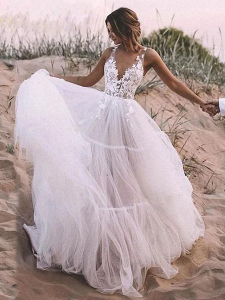 A-line Ivory Lace Popular Beach Wedding Dresses WD0610