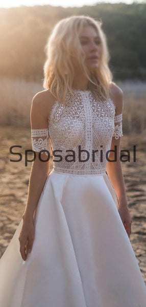 A-line Lace Garden Beach Country Long Wedding Dresses WD0559