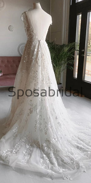 A-line Lace Long Beach Dream Vintage Wedding Dresses WD0475
