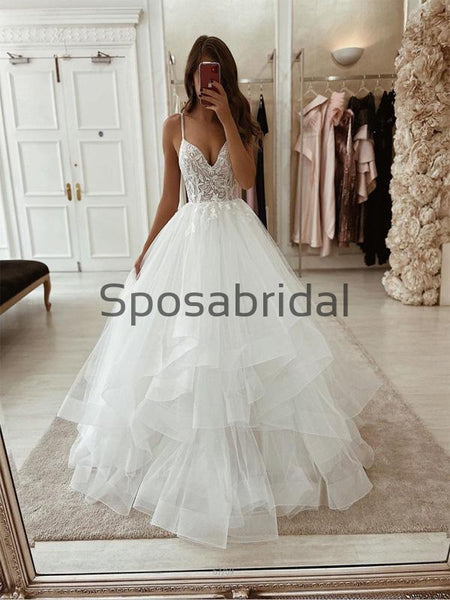 A-line Lace Straps Vintage Tulle Modest Romantic Wedding Dresses  WD0375