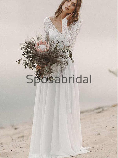 A-line Long Sleeves Chiffon Lace Vintage Long Wedding Dresses WD0536