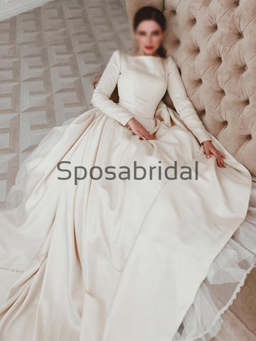 products/A-lineLongSleevesSatinElegantVintagePrincessWeddingDresses_3.jpg