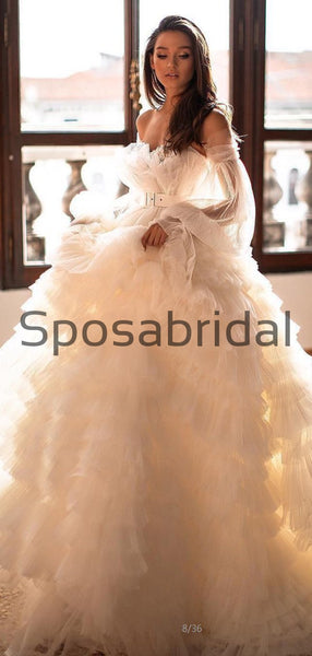 A-line Long Sleeves Tulle Princess Country Wedding Dresses,  Prom Dresses WD0400