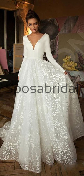 A-line Long Sleeves V-Neck Lace Vintage Beach Wedding Dresses WD0401