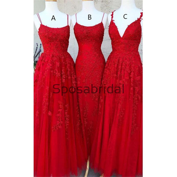 A-line Mermaid Red Mismatched Lace Long Modest Prom Dresses PD2138