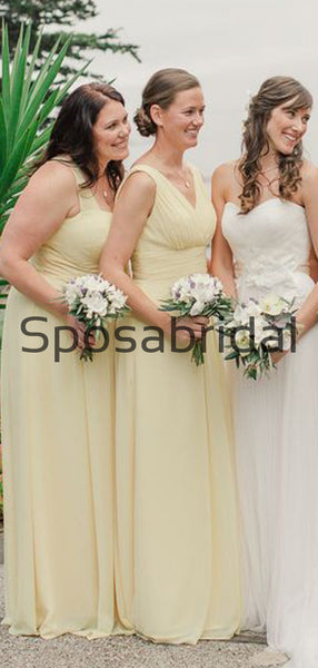 A-line Mismatched Chiffon Pastel Yellow Formal Bridesmaid Dresses  WG869