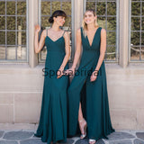 A-line Mismatched Teal Cheap Long Bridesmaid Dresses WG868