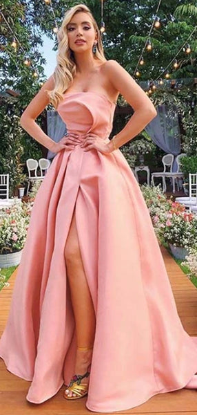 A-line Modest Strapless Pink Satin Prom Dresses PD2348