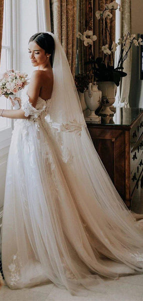 A-line Off the Shoulder Lace Romantic Wedding Dresses WD0612