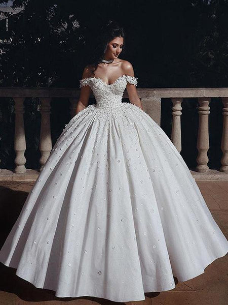 A-line Off the Shoulder Vintage Wedding Dresses WD0613