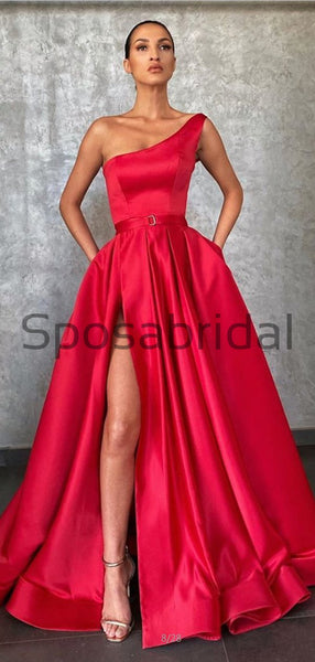 A-line One Shoulder Red Satin Simple Modest Prom Dresses PD2152