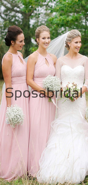 A-line Pink Chiffon Cheap Hot Sale Long Bridesmaid Dresses WG805