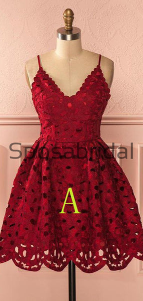 A-line Red Navy Blue Spaghetti Straps Lace Short Homecoming Dresses BD0432