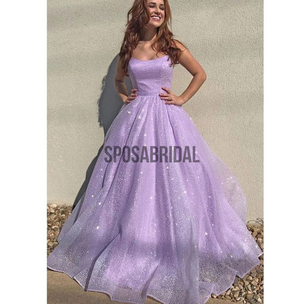 A-line Shinny Lilac Sparkly Modest Long Prom Dresses PD2272