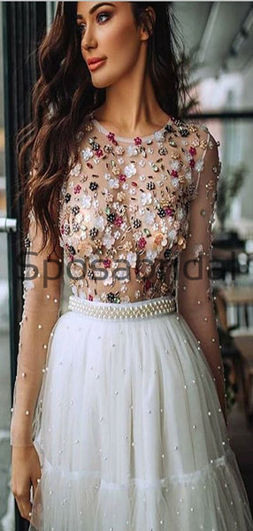 A-line Short Sleevs Beaded Modest Homecoming Dresses BD0435