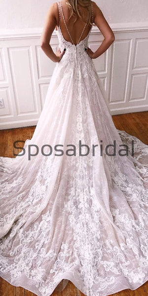 A-line Spaghetti Straps Gorgeous Applique Lace Wedding Dresses WD0483