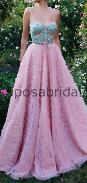 A-line Spaghetti Straps Pink  Tulle Modest Long Prom Dresses PD2188